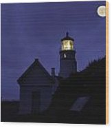 The Silvery Moon And The Light House Wood Print