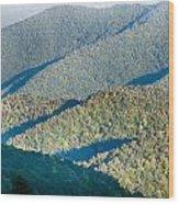 The Simple Layers Of The Smokies At Sunset - Smoky Mountain Nat. Wood Print