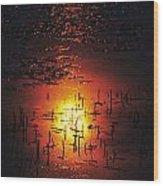 The Sinking Sun Wood Print