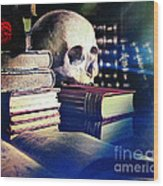 The Skull The Spell Book And The Rose Wood Print