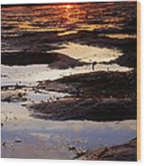 The Sky In The Mud At Low Tide Wood Print