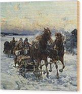 The Sleigh Ride Wood Print by Alfred von Wierusz Kowalski