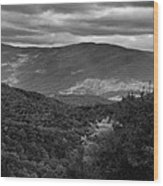 The Smokies In Black And White Wood Print