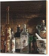 The Snake Oil Shop Wood Print by Olivier Le Queinec