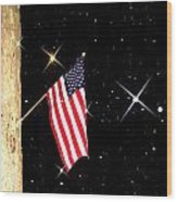 The Snow The Moon And The Flag Wood Print by Sharon Costa