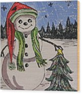 The Snowman's Tree Wood Print