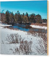The Snowy Moose River - Old Forge New York Wood Print