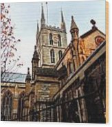The Southwark Cathedral Church London In Winter Wood Print