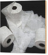 The Spare Rolls 3 - Toilet Paper - Bathroom Design - Restroom - Powder Room Wood Print