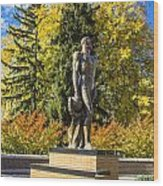 The Spartan Statue In Autumn Wood Print