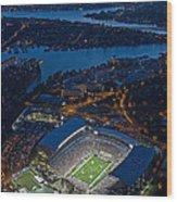 Husky Stadium At Dusk Wood Print