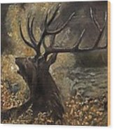 the Stag sitting in the grass oil painting Wood Print