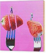 The Star On Strawberry Miniature Art Wood Print