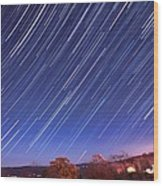 The Star Trail In Ithaca Wood Print