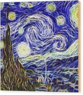 The Starry Night Reimagined Wood Print