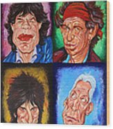 The Rolling Stones Wood Print by Dan Haraga