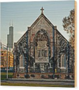 The Stranger's Church And Willis Tower Wood Print