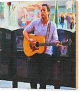 The Street Performer On Market Street - 5d20725 Wood Print