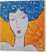 The Strength Of Grace Expressionist Girl Portrait Wood Print by Ana Maria Edulescu