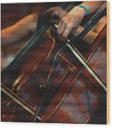 The Stroke Of The Cellist Wood Print