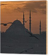 The Suleymaniye Mosque At Sunset Wood Print