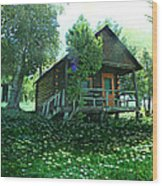 The Summer Cabin Wood Print by Dianne  Lacourciere