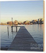 The Sun Begins To Set On Long Beach Island Wood Print