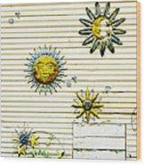 The Sun Moon And Stars Wood Print