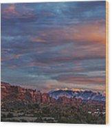 The Sun Sets At Balanced Rock Wood Print