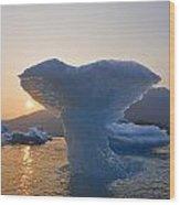 The Sun Sets Beyond An Ice Sculpture Of Wood Print