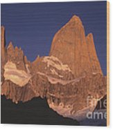 The Sunrise Of Fire Mt Fitzroy Wood Print