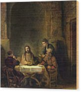 The Supper At Emmaus, 1648 Oil On Panel Wood Print