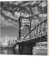 The Suspension Bridge Bw Wood Print