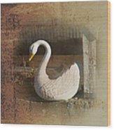 The Swan Planter Wood Print