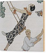 The Swing Wood Print by Georges Barbier