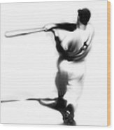 The Swing   Joe Dimaggio Wood Print by Iconic Images Art Gallery David Pucciarelli
