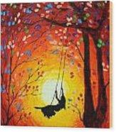 The Swing Original Painting Wood Print