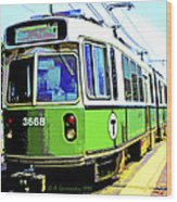 The T Trolley Car Boston Massachusetts 1990 Poster Wood Print