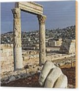 The Temple Of Hercules And Sculpture Of A Hand In The Citadel Amman Jordan Wood Print