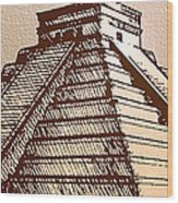 The Temple Of Kukulcan Chichen Itza   Wood Print