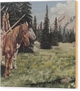 The Tetons Early Tribes Wood Print