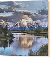 The Tetons From Oxbow Bend Wood Print