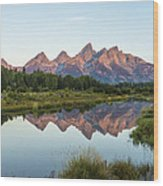 The Tetons Reflected On Schwabachers Landing - Grand Teton National Park Wyoming Wood Print