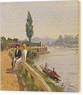 The Thames At Hampton Court Wood Print
