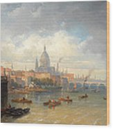 The Thames With Somerset House And St Pauls Cathedral Wood Print