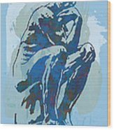 The Thinker - Rodin Stylized Pop Art Poster Wood Print by Kim Wang