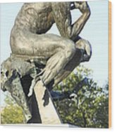 The Thinker Cleveland Art Statue Wood Print