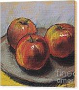 The Three Apples Wood Print