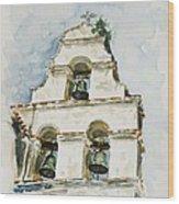 The Three-bell Campanario At Mission San Juan Bautista  Wood Print