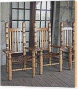 The Three Chairs Wood Print